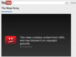 Megaupload's Mega Song was blocked on YouTube by UMG