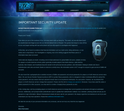 Blizzard Security Notice