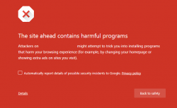Chrome Harmful Programs warning