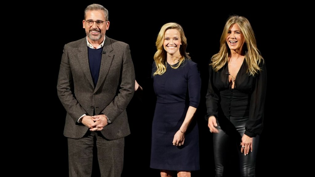 Photo showing Jenifer Aniston, Reese Witherspoon and Steve Carell at the Apple TV+ launch event