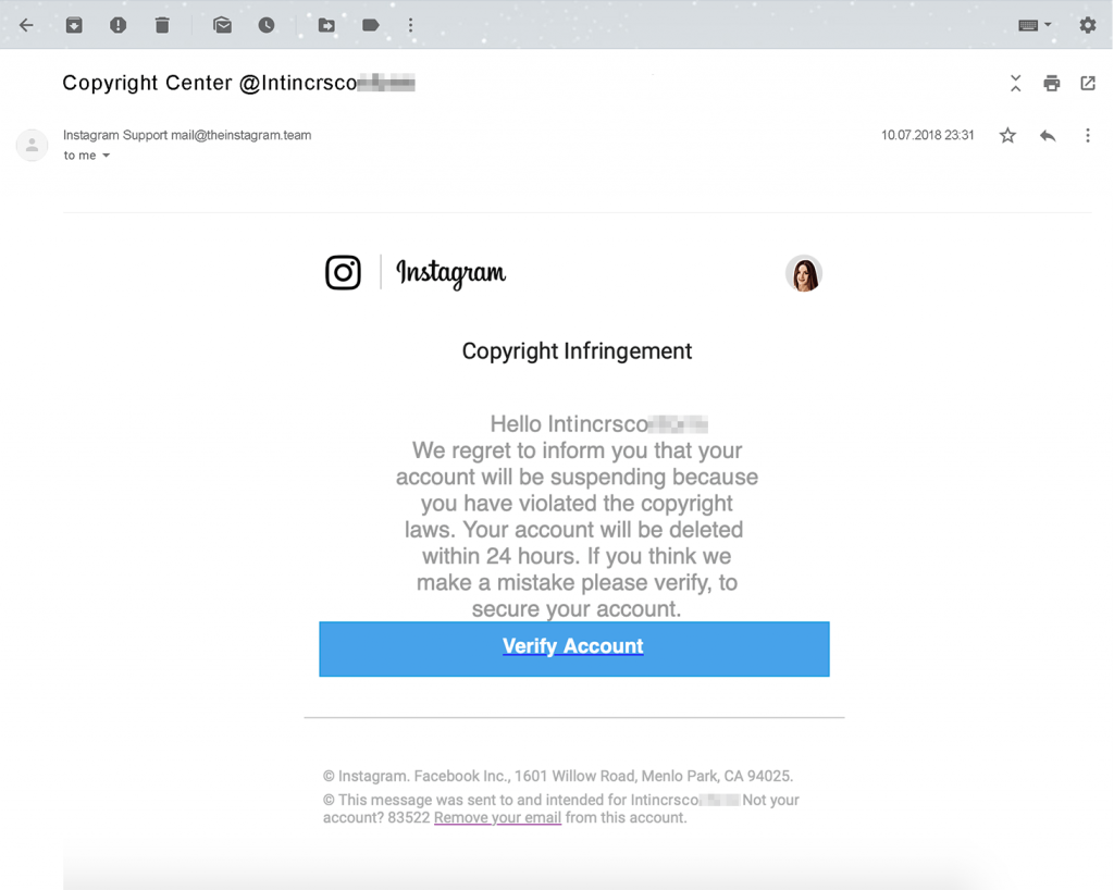 Screenshot of Instagram copyright infringement scam