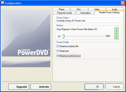 PowerDVD 6.0's Mobile Computing Settings