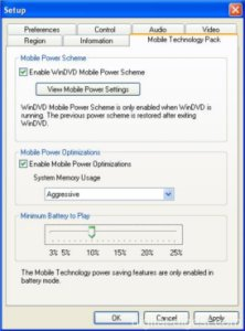 WinDVD 5.0's Mobile Technology Pack