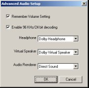WinDVD Platinum's 96 kHz/24 Bit Audio Decoding support