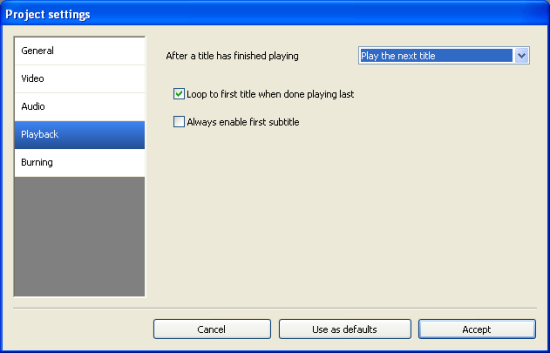 DVD Flick: Playback Settings