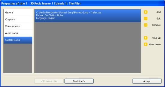 DVD Flick: Title Subtitles Setup
