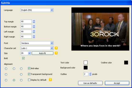 DVD Flick: Title Subtitles Setup Options