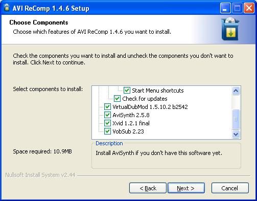 AVI ReComp: Installer
