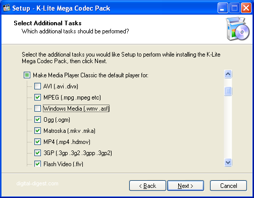 K-Lite Mega Codec Pack: Additional Tasks
