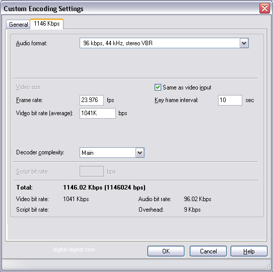 Windows Media Encoder: Custom Encoding Settings - Bit rate