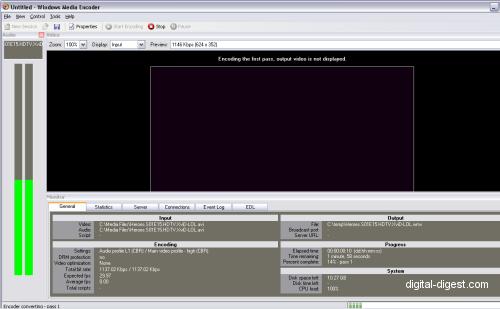 Windows Media Encoder: Encoding