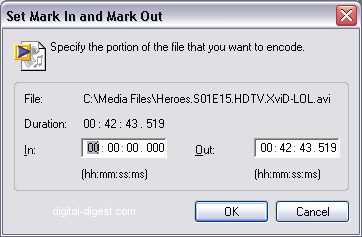 Windows Media Encoder: Mark In/Mark Out