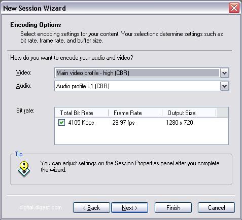 Windows Media Encoder: Encoding Options