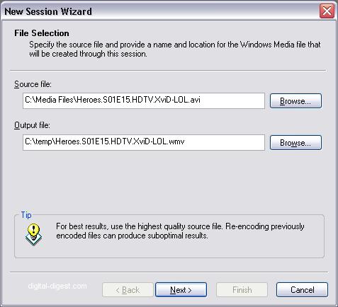 Windows Media Encoder: Load Input