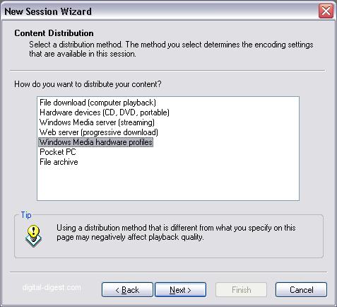 Windows Media Encoder: Select Profile