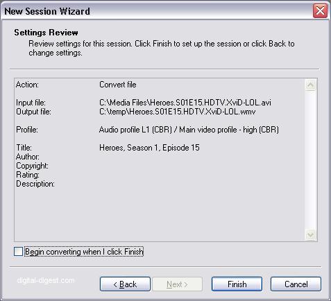 Windows Media Encoder: Settings Review