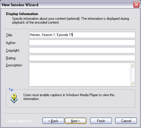 Windows Media Encoder: Display Information