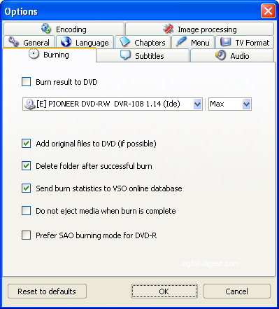 ConvertXtoDVD: Burning Settings