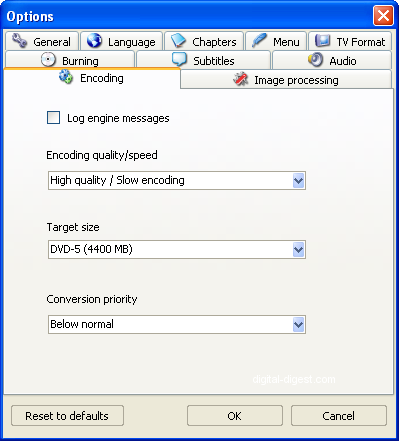 ConvertXtoDVD: Encoding Settings