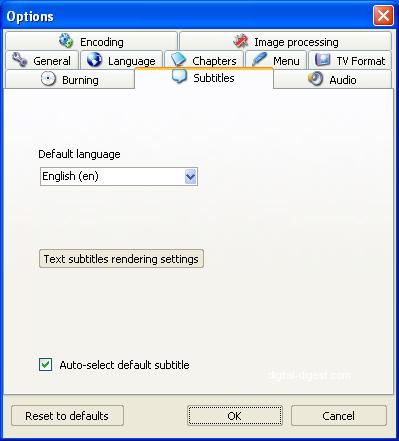 ConvertXtoDVD: Subtitles Settings