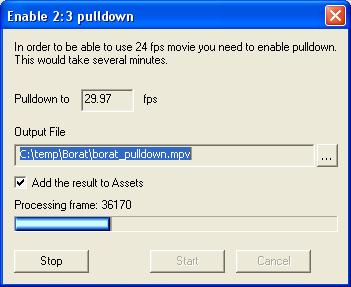 DVD-lab Pro: 2:3 Pulldown
