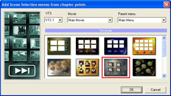 DVD-lab Pro: Add Scene Selection Menu Wizard