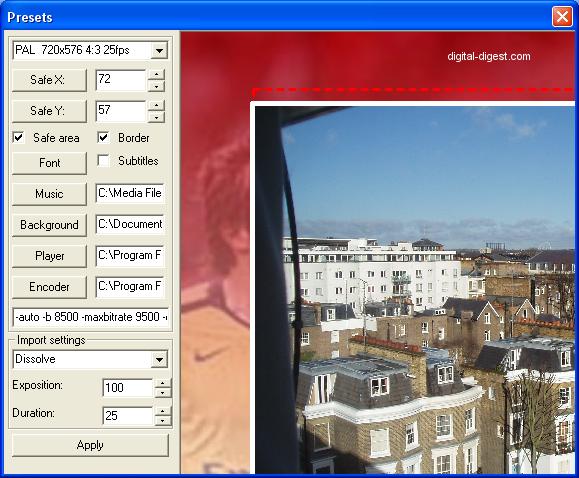 DVD slideshow GUI: Presets