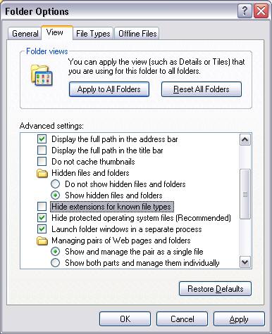 Windows Explorer: Hide Extensions Option