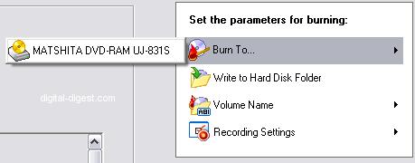 Nero Vision: Burn Options