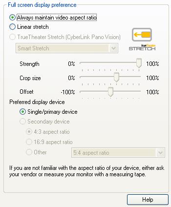 PowerDVD 10 Configuration: Aspect Ratio