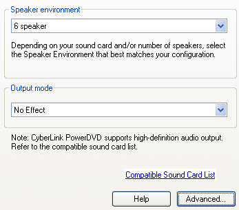 PowerDVD 10 Configuration: Audio