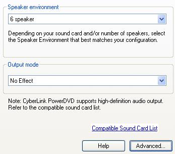 PowerDVD 10 Configuration: Audio