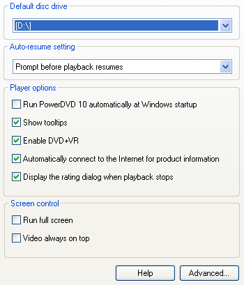 PowerDVD 10 Configuration: Player