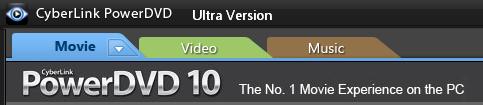 PowerDVD 10: Playback Type Tabs