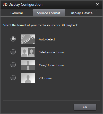 PowerDVD 11 3D Configuration: Source Format