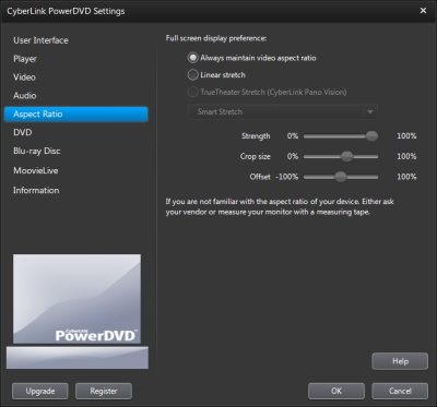 PowerDVD 11 Configuration: Aspect Ratio