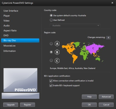 PowerDVD 11 Configuration: Blu-ray Disc