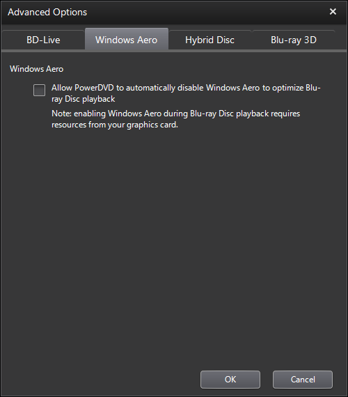PowerDVD 11 Configuration: Blu-ray Disc - Advanced