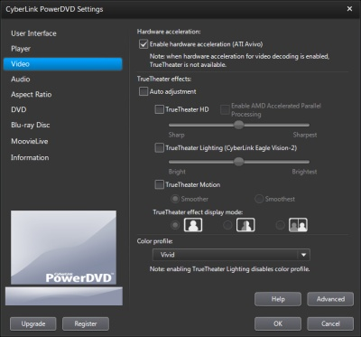PowerDVD 11 Configuration: Video