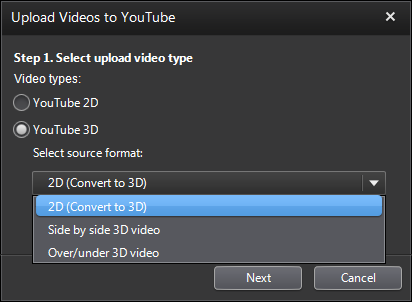 PowerDVD 11: YouTube 3D Upload