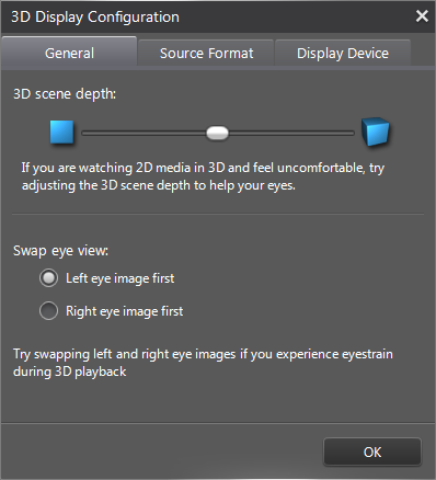 PowerDVD 12: 3D Configuration: General