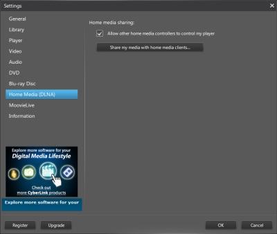 PowerDVD 12 Configuration: Home Media (DLNA)