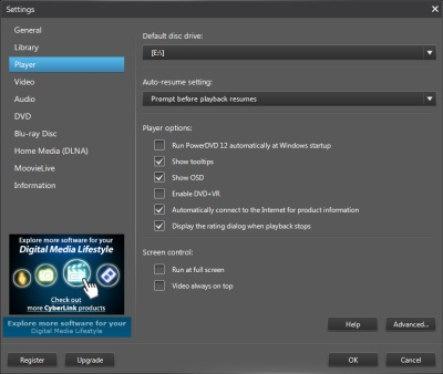 PowerDVD 12 Configuration: Player