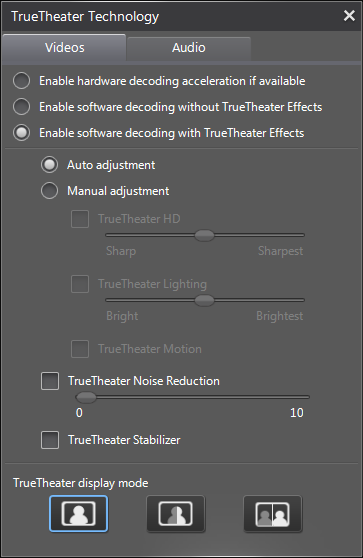 PowerDVD 12 Configuration: Video - TrueTheater: Video