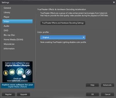 PowerDVD 11 Configuration: Video