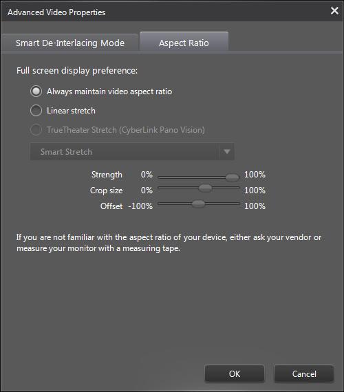PowerDVD 12 Configuration: Video - Advanced: Aspect Ratio