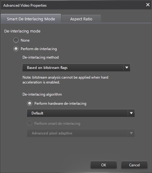 PowerDVD 12 Configuration: Video - Advanced: De-Interlacing