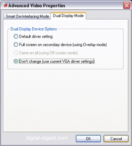 PowerDVD 7.0's Dual Display Settings