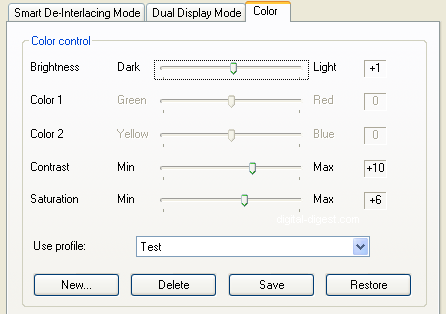 PowerDVD 8: Color Options