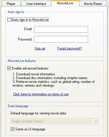 PowerDVD 8 Configuration: MoovieLive